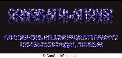 Congratulations. Gold violet alphabetic fonts and numbers on...