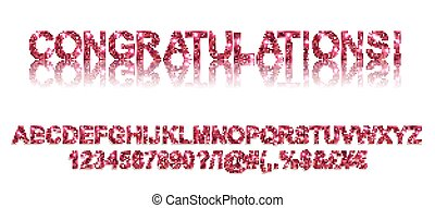 Congratulations. Gold red alphabetic fonts and numbers on a...