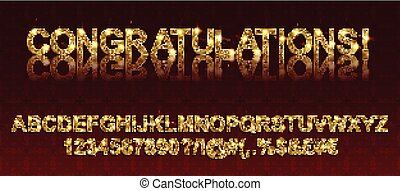 Congratulations. Gold alphabetic fonts and numbers. Vector...