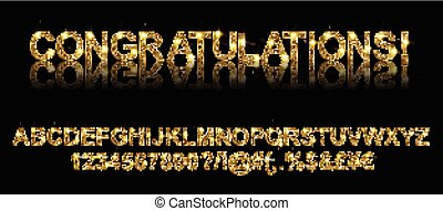 Congratulations. Gold alphabetic fonts and numbers on a...