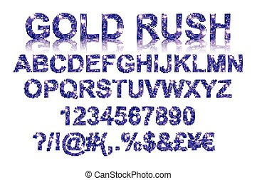 Gold rush. Gold violet alphabetic fonts and numbers on a...