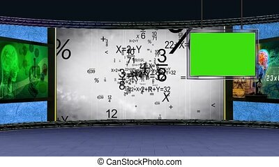 Education TV Studio Set 05 - Virtual Green Screen Background...