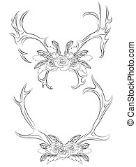 Set of contour illustrations deer antlers with roses and...