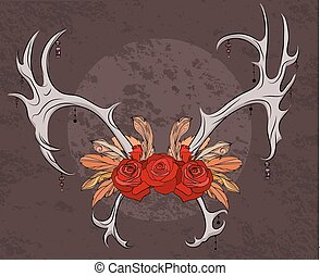 Color illustration deer antlers with roses and feathers....