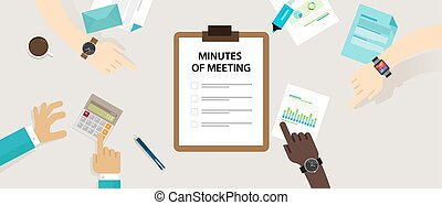 Minutes of meeting document paper write pen about summary of...