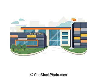 Best School Building Vector in Flat Style Design - Best...