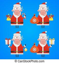 Sheep Santa Claus in various poses
