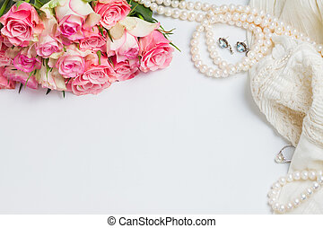 Female accessories on white - Female accessories with freah...