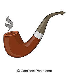 Wooden pipe icon, cartoon style - Wooden pipe icon. Cartoon...
