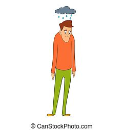 Man with cloud over head icon, cartoon style - Depressed man...