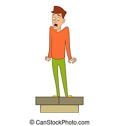Fear of height icon, cartoon style - Fear of heights icon....