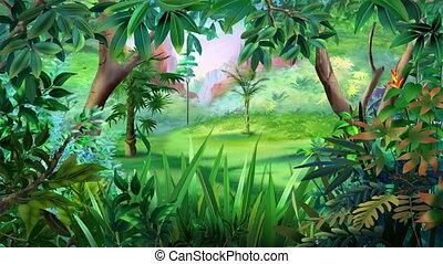 Bengal Tiger Walks Through the Jungle - Cartoon Bengal Tiger...