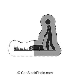 contour man mowing icon