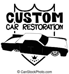 Custom car restoration logo with luxury car. - Vector...