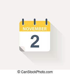 2 november calendar icon on grey background