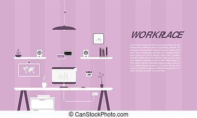 Modern design of workplace. Vector illustration in flat...