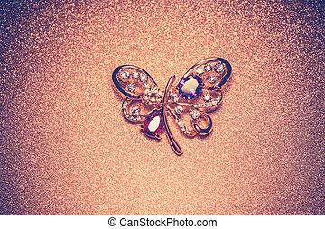 Golden Butterfly Shaped Brooch - Brooch in a shape of a...