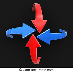 Set of color vector arrows. Image with clipping path