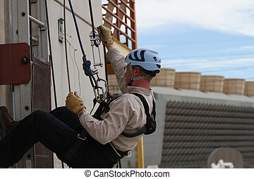 Rope Access - Rope Rescue student using ropes and other...
