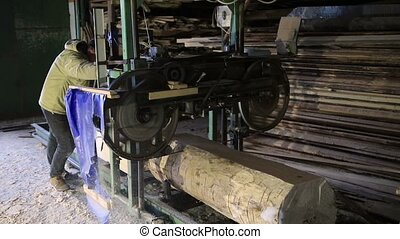 Sawmill. The process of cutting logs into boards - Vintage...