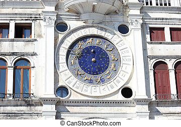 Zodiac astronomical Clock Tower Torre dell Orologio at st....