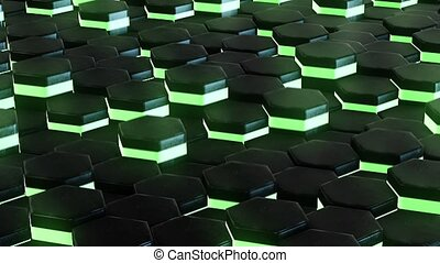 DJ background with animated neon green hexagon