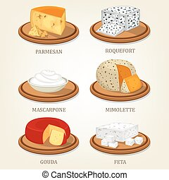 Roquefort and parmesan, mimolette and gouda, feta - Italian...