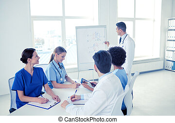 group of doctors on presentation at hospital - medical...