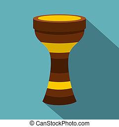 Darbuka musical instrument icon, flat style - Darbuka,...