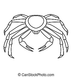 Crab icon, outline style - Crab icon. Outline illustration...