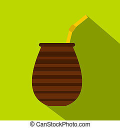 Chimarrao for mate or terere icon, flat style - Chimarrao...