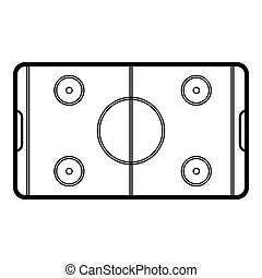Field hockey icon, outline style - Field hockey icon....