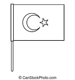 Flag of Turkey icon, outline style