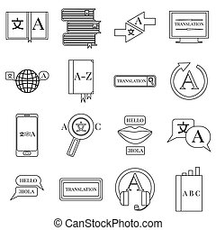 Translator profession icons set, outline style - Translator...