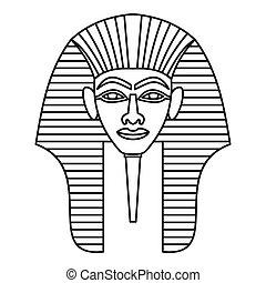 stil, skissera, egyptisk, maskera, ikon, Faraoner