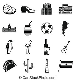 Argentina travel items icons set, simple style - Argentina...