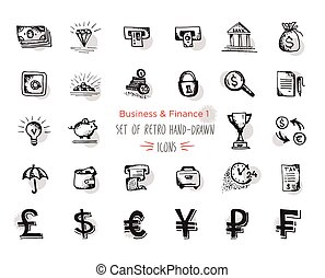 Hand-drawn sketch finance web icon set - economy, money, payments.With emphasis in round spots form. Isolated black on white background
