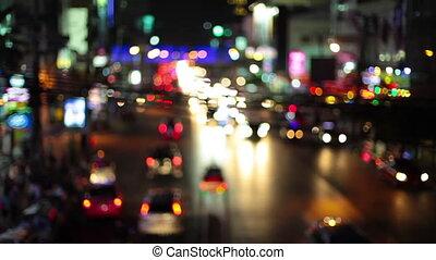 HD - Night lights streak as we travel down a city street. Loop.
