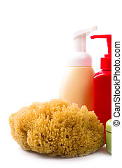 natural sponge and cosmetics