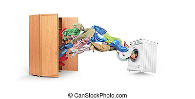 Clothing flies out of the cupboard into the washing machine isolated on white background