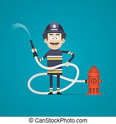 Fireman holds fire hose and smiling - Illustration, fireman...