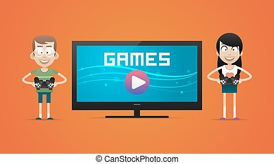 Guy and girl playing video games