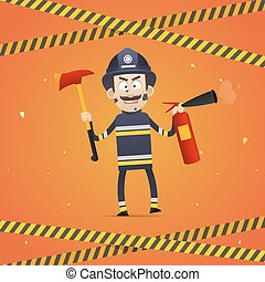 Fireman holds fire extinguisher and firefighter ax