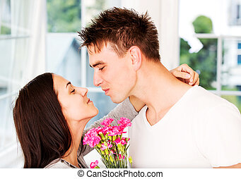 Men giving flowers to his lover woman. - Valentine's day....