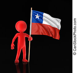 Man and Chilean flag. Image with clipping path