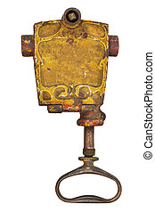 Vintage rusty train emercengy brake isolated on white -...