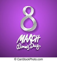 March 8 greeting card. International Womans Day. vector. violet background