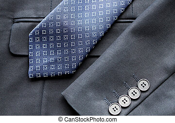 close up of business suit jacket and tie - clothing, formal...