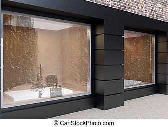 Showcase street store. 3D rendering