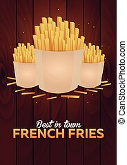 Lunch with french fries. Fast food poster. Vector Illustration.